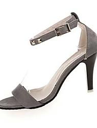 Damen-Sandalen-Lässig-Vlies-StöckelabsatzSchwarz / Grau