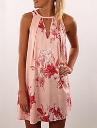 Ample Robe Femme Sortie simple,Fleur Col en V Mini Sans Manches Rose Polyester Eté Taille Normale Non Elastique Fin
