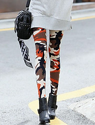 Women's Camouflage Green / Orange Skinny PantsStreet chic Spring / Fall
