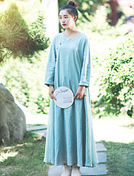 Ramie Cotton Women's Casual/Daily Chinoiserie Loose DressSolid V Neck Maxi Long Sleeve Green Fall