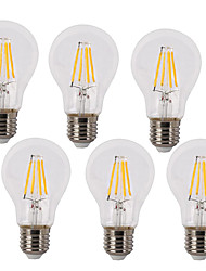 6 Pack 4W 400LM Vintage LED Filament Bulb A60 Medium Screw E27 Base Incandescent Replacement Warm White /White 220-240V AC