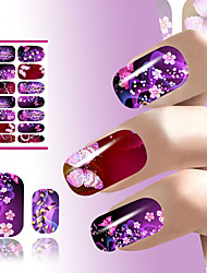 Water Transfer Nail Art Sticker Decals Flower Sexy Flirtatious Purple Shine Design For Nails Wraps Manicure Accessories