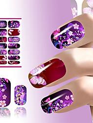 transferência de água da arte do prego decalques etiqueta flor projeto roxo coquete sexy brilho para unhas envolve acessórios manicure