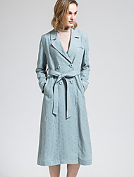 BORME Women's Shirt Collar Long Sleeve Trench Coat Light Blue-Y050