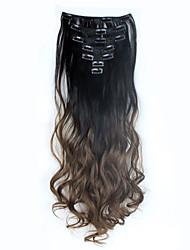 Clip 1set sur 7pcs extension de cheveux 60cm de 24inch définir postiches dip colorant naturel pince synthétique / ondulée dans les