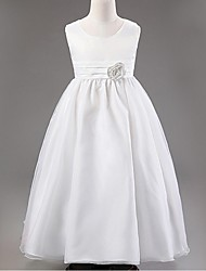 Ball Gown Ankle-length Flower Girl Dress - Organza Sleeveless Jewel with Flower(s)