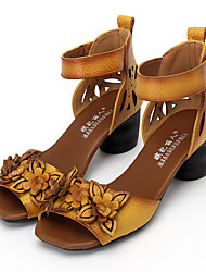 Women's Sandals Summer Comfort Leather Casual Chunky Heel Flower Black / Yellow / Red Others