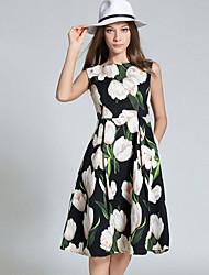 Mujer Vaina Vestido Noche / Casual/Diario / Vacaciones Simple / Bonito / Chic de Calle,Floral Escote Redondo Mini / Sobre la rodillaSin
