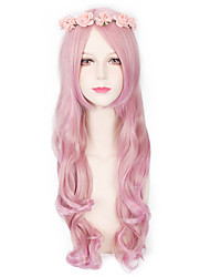 Pink Color Synthetic Wigs Fashion Long Wave Women Cosplay Wigs