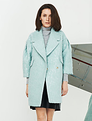 Women's Going out Sophisticated CoatJacquard Peaked Lapel  Sleeve Winter Green Wool / Polyester Medium