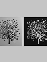 Toiles Tendues Art Floral Noir Blanc Tree Set de 2