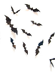 12Pcs Black 3D DIY PVC Halloween Bat Wall Sticker Decals Home Decor Decoration