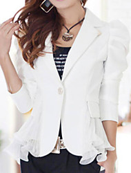 Women's Ruffle OL Slim Solid Blazer,Casual/Work Peaked Lapel Long Sleeve Ruffle