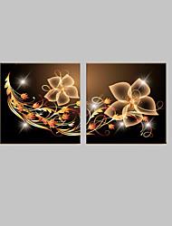 E-Home® gestreckt geführt Leinwanddruck Kunst dekoratives Muster Flash-Effekt führte blinkenden Lichtwellenleiter Drucksatz von 2
