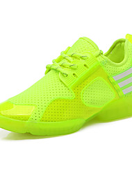 Women's Dance Shoes Leatherette Leatherette Dance Sneakers Split Sole Flat Heel Performance Green / Red / White
