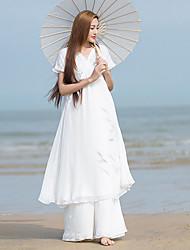 Ample Robe Femme Décontracté / Quotidien simple,Broderie Col en V Mi-long Manches Courtes Blanc Lin / Autres Eté Taille NormaleNon
