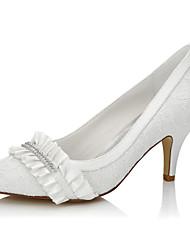 Homme-Mariage / Habillé / Soirée & Evénement-Ivoire-Talon Aiguille-Talons / Bout Fermé-Chaussures à Talons-Soie