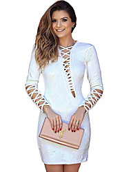 Women's White Lattice Long Sleeve Mini Dress