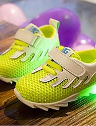 Unisex Sneakers Fall Comfort Tulle Casual Flat Heel LED Blue / Green / Fuchsia Walking