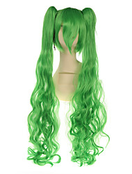90cm de comprimento mikucos perucas cosplay verdes com 2 rabos de cavalo hollywood traje peruca perucas de cabelo sintético