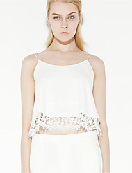 Women's Going out Sophisticated Summer Tank TopSolid Strap Sleeveless White Polyester Thin