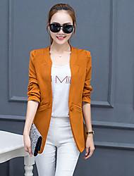 Damen Solide Einfach Ausgehen / Übergröße Blazer,Ständer Herbst Langarm Blau / Rosa / Rot / Schwarz / Orange Polyester Mittel