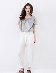 Pantalon Aux femmes Large simple Rayonne Non Elastique