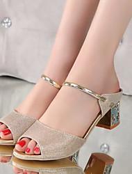 Damen-Sandalen-Lässig-PU-Blockabsatz Block Ferse-Komfort-Silber Golden