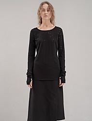 rizhuo Frauen Casual / Tages einfachen Frühling / Herbst t-shirtsolid Rundhals Langarm schwarz Baumwolle / Elastan-Medium
