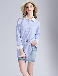 Eosciy® Damen Hemdkragen Lange Ärmel Shirt & Bluse Hellblau-80204