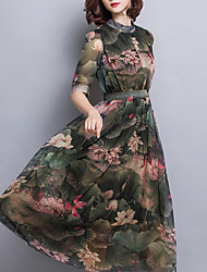 Women's Plus Size / Formal Chinoiserie Sheath Dress,Floral Round Neck Midi ½ Length Sleeve Green Polyester Summer