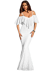 Women's Spaghetti Straps Ruffled Off Shoulder Mermaid Dress