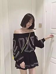 Tee-shirt Femme,Rayé Décontracté / Quotidien simple Automne Manches Longues Bateau Blanc / Noir Coton Moyen