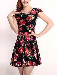 High Quality Women's Vintage / Street chic Floral Plus Size / Sheath Dress,Round Neck Above Knee Cotton / Polyester