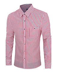 Men's Striped Work / Formal Shirt,Cotton Long Sleeve Blue / Green / Red / Gray