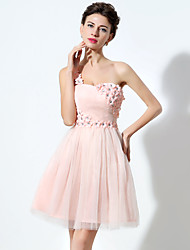 2017 Cocktail Party Dress A-line One Shoulder Short / Mini Tulle with Crystal Detailing / Flower(s)