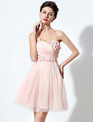 2017 cocktail robe d'une ligne-une épaule mini court tulle / avec le cristal détaillant / fleur (s)