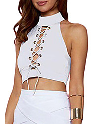 Women's White Lace Up Turtleneck Cropped Top
