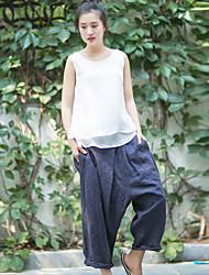 Pantalon Aux femmes Harem simple / Chinoiserie Coton / Lin Non Elastique