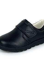 Boy's Oxfords Spring Fall Winter Comfort Leather Casual Party & Evening Low Heel Hook & Loop Black Walking