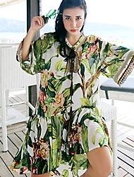Whisper WheatWomen's Going out /Boho Shift DressPrint Round Neck Knee-length  Length Sleeve Green Polyester Summer