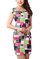 Hot Sale Women's Simple / Street chic Geometric Plus Size / Sheath Dress,Round Neck Above Knee Cotton / Polyester