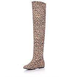 Feminino-Saltos-Inovador Botas de Cowboy Botas de Neve Botas Montaria Botas da Moda-Rasteiro-Marrom Amarelo Vermelho-Sintético Couro
