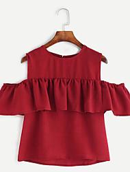Damen Solide / Druck Street Schick Lässig/Alltäglich T-shirt,Rundhalsausschnitt Sommer Kurzarm Rot / Schwarz / Gelb Leinen Mittel
