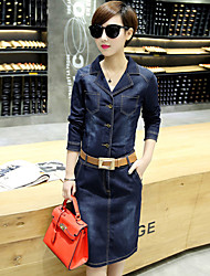 Boutique S Going out Street chic Sheath DressSolid Shirt Collar Above Knee Long Sleeve Blue Cotton Summer