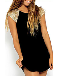 Women's Casual/Daily Simple Sweater Dress,Solid Round Neck Mini Sleeveless Black Others Summer