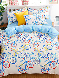 Bedtoppings Comforter Duvet Quilt Cover 4pcs Set Queen Size Flat Sheet Pillowcase Colorful Bicycle Prints Microfiber