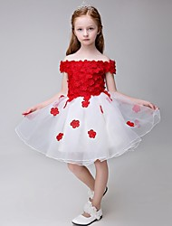 Ball Gown Knee-length Flower Girl Dress - Organza Short Sleeve Bateau with Appliques