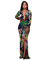 Women's Party/Cocktail Vintage / Boho Split Plus Size Sheath DressFloral Deep V Maxi Long Sleeve Mid Rise Micro-elastic
