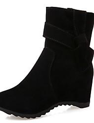 Feminino-Botas-Botas de Cowboy Botas de Neve Botas da Moda Inovador-Rasteiro-Preto Bege Pêssego-Couro Envernizado Courino-Casamento